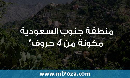 منطقة جنوب السعودية مكونة من 4 حروف